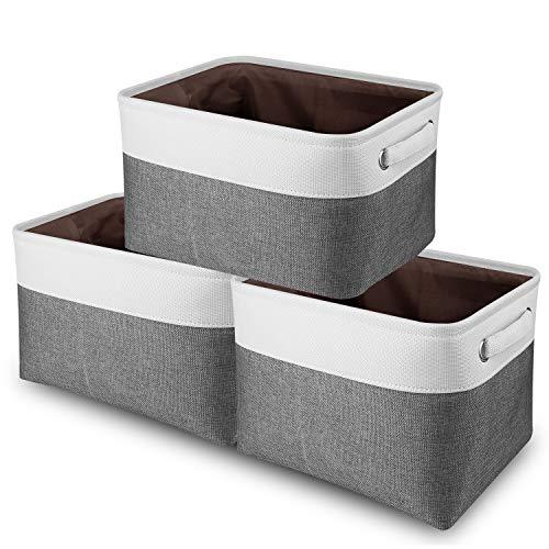 Awekris Juego de 3 cestas de almacenamiento grandes para almacenamiento [paquete de 3] Caja de almacenamiento plegable de tela de lona con asas para el hogar, oficina, armario,...