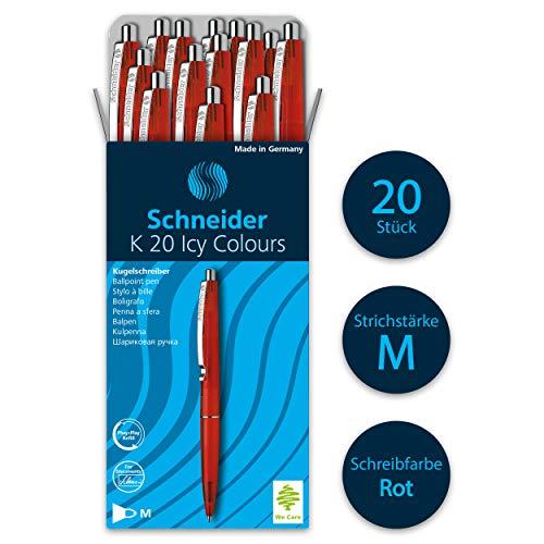 Schneider K20 Icy Colours Kugelschreiber (Schreibfarbe: rot, Strichstärke M, dokumentenechte Mine, Druckmechanik) 20er Packung, rot
