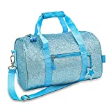 Bixbee Kids Duffle Bag, Dance Bag & Travel Bag for Sports, Gymnastics and Ballet with Adjustable Strap, Zippers, Pockets, and Flake-Resistant Glitter - Dance Bag for Girls & Boys in Sparkalicious Turquoise