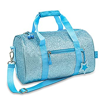 Bixbee Kids Duffle Bag Dance Bag & Travel Bag for Sports Gymnastics and Ballet with Adjustable Strap Zippers Pockets and Flake-Resistant Glitter - Dance Bag for Girls & Boys in Sparkalicious Turquoise