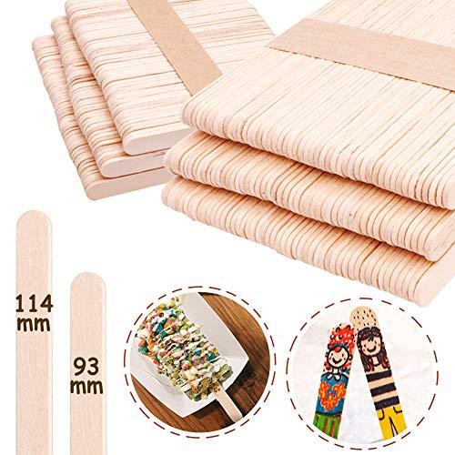 Palos de Madera para helados, INTVN 300 Palitos de Madera Seguro y No Tóxico, 11.4 x 1cm & 9.3 x 1cm, palos de polo de madera natural, Palitos de madera para manualidades DIY hecho en casa