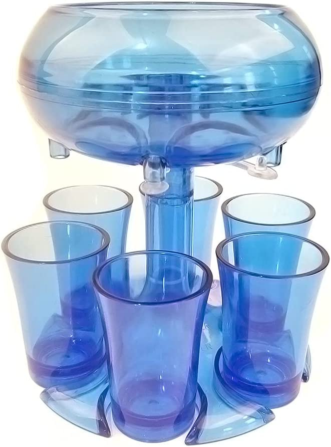 Soporte para 6 vasos de chupito PMMA, vasos de chupito para juegos de beber, vertedor para empezar la fiesta, conveniente para llenar líquidos, varios cócteles (azul)