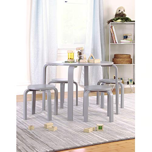 Guidecraft Nordic Table and Chairs Set for Kids: Gray - Stacking Bentwood Stools with Curved Wood Activity Play Table - Children's Modern Kitchen, Playroom and Classroom Furniture