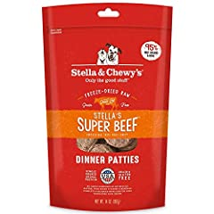 Only the good stuff! Dogs naturally crave meat, much like they ate in the wild. That's why every batch of Stella's Super Beef Dinner Patties starts with 95% beef (always grass-fed!), organs and bone plus 100% organic certified fruits and vegetables t...
