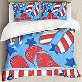 Ultraweicher Bettbezug,Sommerspaß Patriotische Flip Flops Sees,Mikrofaser-gewaschene Bettdecke mit verstecktem Reißverschluss, für Ganzjahresbettwäsche 3er-Set (1 Bettbezug 78x78Zoll + 2 Kissenbezug)