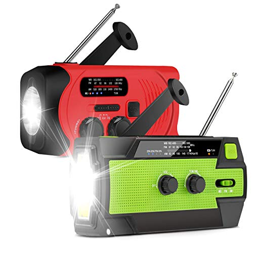 Emergency Flashlight Radio, 2020 Upgraded AM/FM/NOAA Weather Solar Crank Radio with Replaceable Li-ion Battery, Sensor Reading Lamp,3 Modes Flashlight,Phone Charger for Hurricanes, Tornadoes