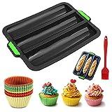Queta Moldes de silicona para hornear 10 unidades, molde para pan, molde con pincel para cupcakes,...
