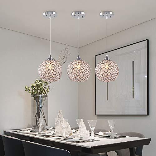 Goeco Lampadario Moderno Nordico E27 lampadario Argento, Lampadario Rotondo con Sfera di Cristallo Soggiorno Camera da Letto D18CM