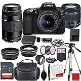 Canon EOS 90D DSLR Camera with EF-S 18-55mm f/3.5-5.6 STM & 75-300mm III Lens Bundle + Sandisk 64GB Memory + Professional Accessory Bundle