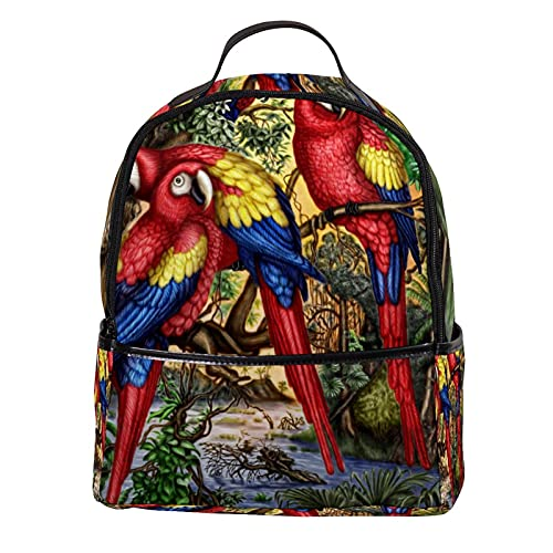bibaodan Zaino Borsa per laptop Borsa per donna in pelle Mini Carino Parrot Bird Art Work per esterni, viaggi
