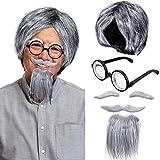 WILLBOND Set de Peluca de Científico, Incluye Peluca de Disfraz, Bogote Postizo y Cejas, Gafas Nerd para Fiesta de Disfraz, Fiesta de Disfraz Temático de Ciencia, Disfraz de Abuelo, Halloween
