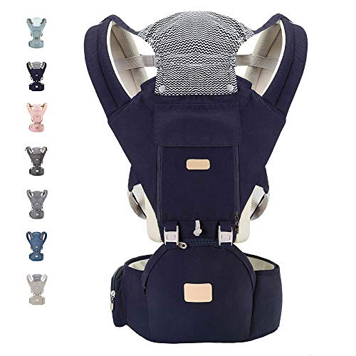 YIYUNBEBE Baby Carriers for All Seasons, 3-in-1 Baby Wrap Carrier with Hip Seat, Baby Carrier Infantino Backpack for Men Women Hiking Shopping Travelling (Navy Blue)