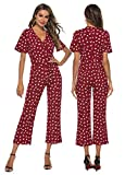 CK CrisKat Monos para Mujeres Vestido Largo Casual Verano Vestido Mujer Elegante Pantalones de Pierna Ancha Monos de Vestir Mujer Manga Corta para Fiesta Jumpsuits Verano (Rojo, S)