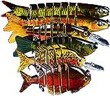 JasCherry Señuelo de Pesca Multi-articulado, Cebo Artificial, Señuelo de Hundimiento Lento, Señuelo de Buceo, Kit de Señuelos de Pesca para Lubina, Trucha, Perca, Caballa