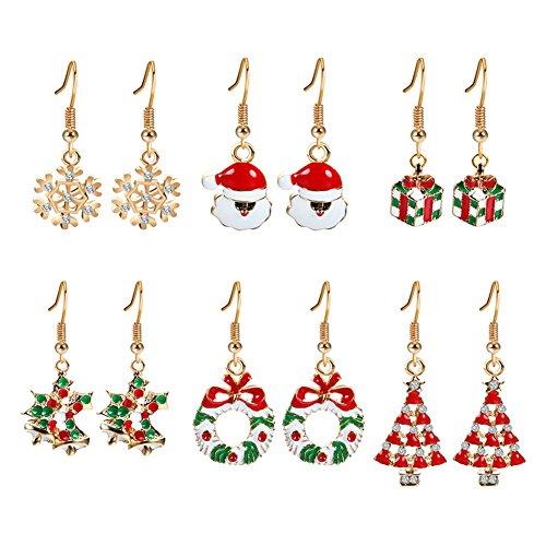 SWIDUUK Cute Santa Claus/Snowflake/Jingle Bell Design Women Ear Hook Earrings Xmas Jewelry