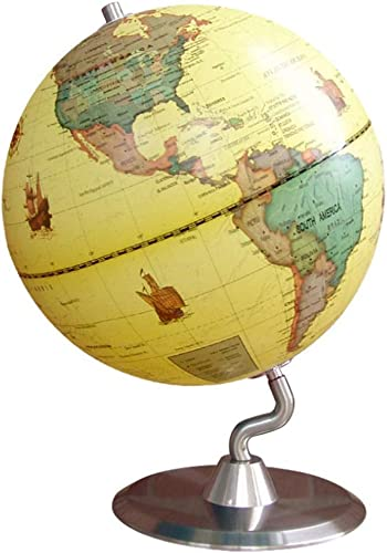 Hplights Antikdesign globus 25 cm, aktuelle politische Karte, Metall,Antikstil,Gelb