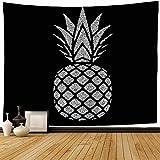 Tapiz de pared, gris, negro, hoja de piña, plata tropical, fruta exótica, comida, bebida, postre vegetariano, papel de aluminio para dieta, tapiz para colgar en la pared, tapiz de playa para decoració
