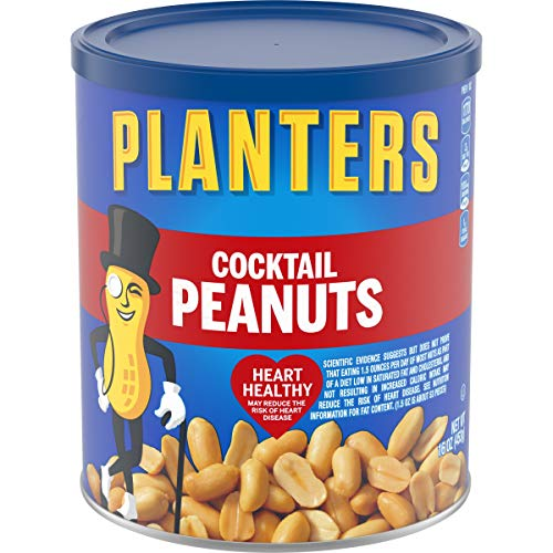 PLANTERS Salted Cocktail Peanuts, 16 oz. Resealable Jar | Cholesterol Free Heart Healthy Snack | Protein Snack | A Good Source of Essential Nutrients | Premium Quality Peanuts | Kosher , 3 pack.