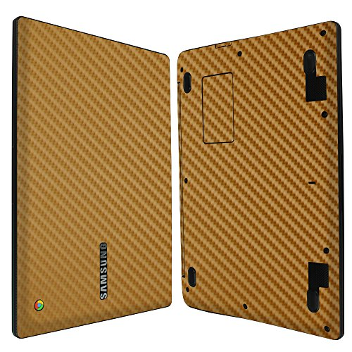 Save %7 Now! Skinomi Gold Carbon Fiber Full Body Skin Compatible with Samsung Chromebook 2 (11.6 inc...