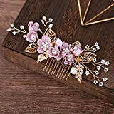 Bride Wedding Hair Comb Flowers Pearl Bridesmaids Hair Piece Accessories Vintage Bridal Hair Clips for Women and Girls (Purple)