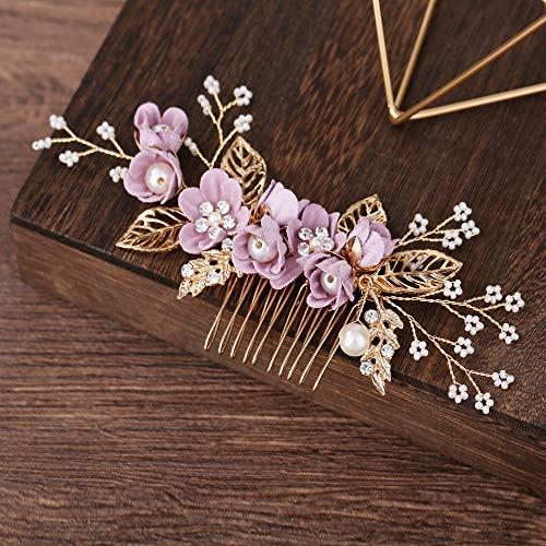 CULASIGN Bridal Hochzeit Haarnadel Haarschmuck Braut Kopfschmuck verewigt Blume handgefertigten Blume haarnadel Karte Haar Hochzeit Zubehör Hochzeit Modellierung Zubehör (Lila)