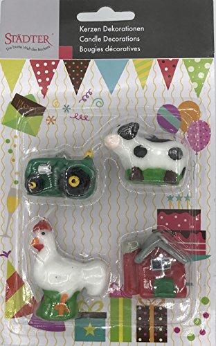 Städter 4 Minikerzen * BAUERNHOF * für Party und Geburtstag // Kerzen Kuchen Torte Deko Candle Traktor Hahn Kuh Bauernhaus