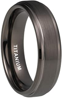 iTungsten 6mm 8mm Silver/Black/18K Gold/Gunmetal Titanium Rings for Men Women Wedding Bands Stepped Beveled Edges Matte Fi...