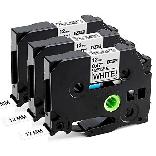 Cassetta Aken Etichette Compatibile Sostituisce Brother TZe-231 TZe231 Nastro per etichette Ptouch 12mm 0,47 Nero su bianco Cassetta nastro laminato per Brother Ptouch PT-107B 1000 H105 H110 (3Pz.)