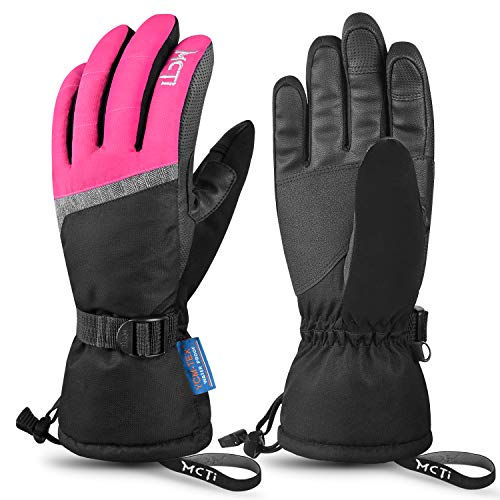 MCTi Ski Gloves,Winter Waterproof Snowboard Snow 3M Thinsulate Warm Touchscreen Cold Weather Women Gloves Wrist Leashes Rose Red Small