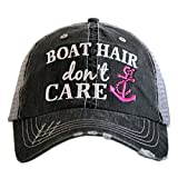 KATYDID Boat Hair Don't Care Baseball Cap - Trucker Hat for Women - Stylish Cute Sun Hat Pink