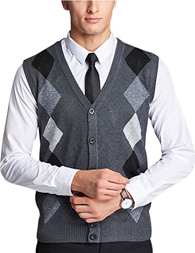Yeokou Mens Casual Slim Sleeveless V Neck Button Front Wool Knitted Sweater Vest (X-Small, Style23 Dark Grey)