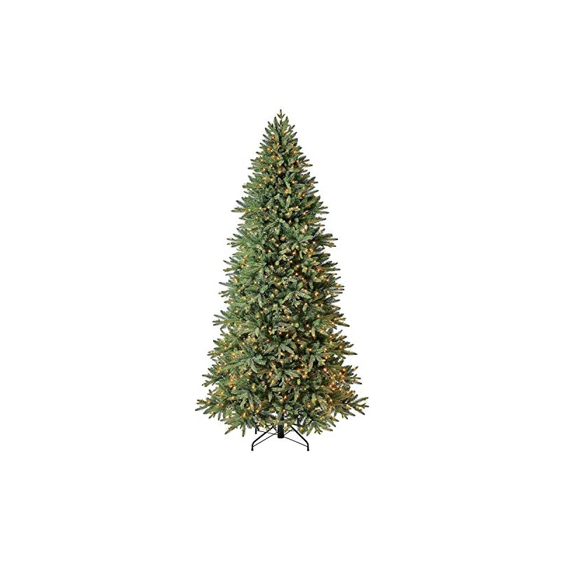 silk flower arrangements evergreen classics 9 ft pre-lit colorado spruce quick set artificial christmas tree, clear lights