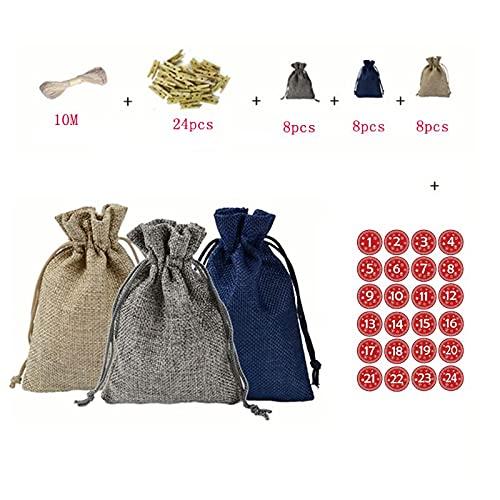 24Pcs Calendario dell'Avvento Natale Riempimento Sacchetto di Caramelle con il numero tedesco Adesivi Clip Corda Halloween Candy Bags Bulk