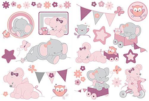 Nattou Stickers Muraux pour Chambre d'Enfant, 2 Pièces, Adèle et Valentine, Gris/Rose