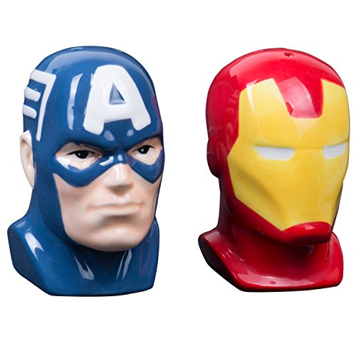 Marvel Salz- und Pfefferstreuer: Captain America & Iron Man Büste, Keramik, mehrfarbig, 9 x 8 x 10 cm