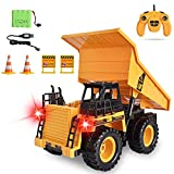 Remote Control Dump Trucks RC Dump Trucks RC Construction Vehicles Toys 6 Ch 2.4G Alloy RC Engineering Truck 4 Wheel Driver Mine Machine Model for 4,5,6,7,8,9 Year Old Boys and up, with LED Light