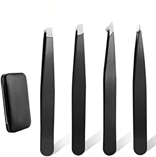 Tweezers Set - Tweezer Guru Stainless Steel Slant Tip and Pointed Eyebrow Tweezer Set - Great Precision for Facial Hair, Ingrown Hair, Splinter, Blackhead and Tick Remover (Black)