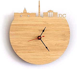 Haiyaosale Irregular Wall Clock Wood Carving Seattle City Silhouette Quartz Clock (Color : C)
