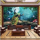 Yologg Papel Pintado 3D Bosque Pavo Real Paisaje Murales Sala De Estar Tv Dormitorio Estudio Decoración Para El Hogar-250X175Cm