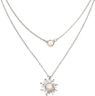 Jovono Boho Multilayered Opal Pendant Necklaces Sun Flower Pendant Chain Jewelry for Women and Girls (Silver)