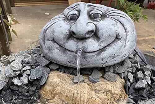 Steinfigur Wasserspeier Kopf Garten Deko-Gartenfigur Koi Teich Wasserspucker W44