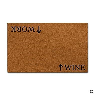 BLINY Funny Doormat Work Wine,Non-slip Home Office Decorative Door Mat Indoor/Outdoor Rubber Mat 18 X30