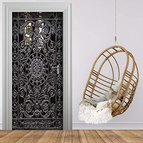 YANCONG Adhesivo Puerta Patrón De Flor De Hierro 3D Vinilos Decorativos para Puerta Pared Papel Pintado Puerta Usado para Cocina Sala De Baño 95X215Cm
