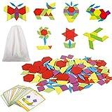 Jacootoys Tangram Puzzle Madera Bloques de Patrones Rompecabezas Formas Geometrías Juegos Juguetes para Niños 130 Piezas