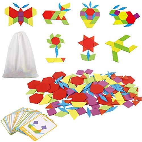 Jacootoys Holzpuzzles Tangram Geometrische Formen Puzzle Pädagogisches Spielzeug mit 24 Design Karten Geschenk für Kinder (130 Teile)