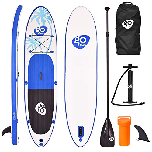 "Goplus 11' Inflatable Stand Up Paddle Board Package w/ Fin Adjustable Paddle Pump Kit Carry Backpack, 6"" Thick"