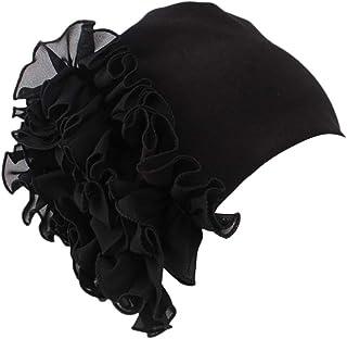 Retro Big Flowers Hat Women Ladies Turban Brim Pile Solid Color Cap