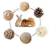 XIAO MO GU Rabbit Toys, Hamster Bunny Chew Toys,Natural Wooden Guinea Pig Toys Boredom Breakers, Grass Balls,Gerbil Toys, Guinea Pig Treats, Small Pet Toys Rattan Balls