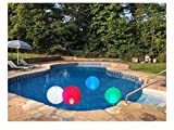 "14"" Solar Floating Pool Lights (2 Pack) - 7 Color Changing Inflatable Waterproof"