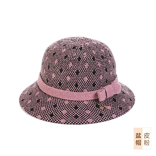 Tony plate Sombrero de Lavabo Simple para Mujer Sombrero cálido de otoño e Invierno Sombrero cálido Sombrero de Madre con Lazo-Cuero Rosa-Los 54-56cm